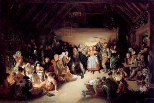 Snap-Apple Night (1832) von Daniel Maclise zeigt eine Halloweenfeier in Blarney, Irland
